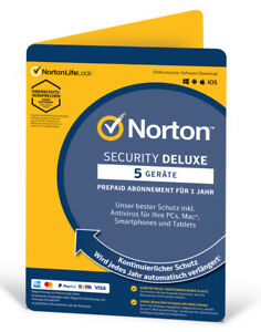 Norton Security Deluxe 2021 2022 Internet Security Antivirus 5 Geräte 1 Jahr ESD