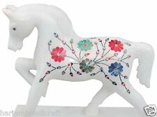 "6"" White Italian Marble Horse Sculpture Mosaic Inlay home decor Nice Gifts H1413"