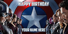 Birthday banner Personalized 6ft x 3 ft Captain America Civil War,Disney, Marvel