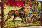 """Vintage Velvet style wall hanging Tapestry Tiger Family 71"""" X 38"""" Made In Italy"""