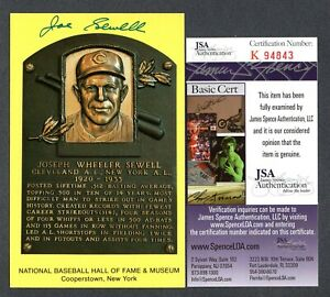 JSA Joe Sewell Autographed Signed HOF Postcard Cleveland Indians TRB 477