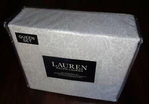 Ralph Lauren Queen 100% Cotton Deep Sheet Set Jacobean Paisley Gray Floral NEW