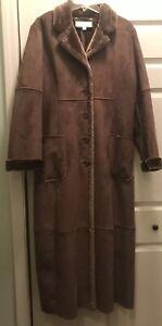 Jones New York Faux Sherling Coat XL Vegan Chocolate Brown WARM Cozy NWOT