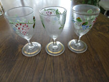 VINTAGE HAND PAINTED SET OF 3 GRAPE VINE STEMMED WINE GLASSES