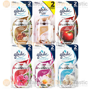 2 x GLADE SENSE & SPRAY AUTOMATIC HOME AIR FRESHENER TWIN PACK REFILLS 18ML