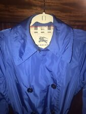 Burberry London Bright Blue Button Down Double Breasted Jacket Trench Coat 8 EUC