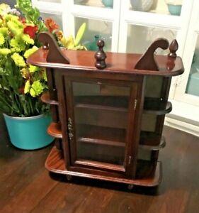 "Vintage 17"" Wood 3 Shelf Glass Door Table Top Wall Hanging Display Curio Cabinet"