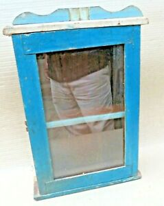 Vintage Wood Cabinet Curio Display showcase Original Blue solid back distress