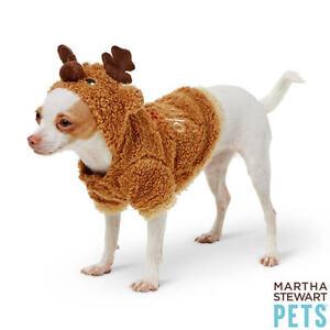 """Martha Stewart Pets® """"SANTA'S HELPER"""" Reindeer Holiday Hoodie Pullover Style XS"""
