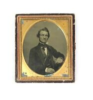 Antique 19th Century 1/6th Size Ruby Ambrotype of Gentleman in Brass Mat Frame