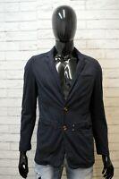VERSACE JEANS Uomo Taglia S Giacca Blu Elegante Cappotto Blazer Elastica Jacket