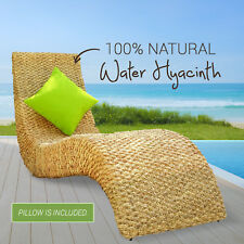 Natural Wicker Lounge Chair Recliner Chaise Water Hyacinth Acacia Furniture