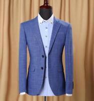 Mens slim cotton linen tow button casual business coat dress blazer suit jacket