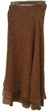 "Sari Wrap Skirt Reversible 38'L 48""W Brown Orange Two Sided"