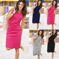 Women Fashion Sleeveless Pockets Sundress Lady Summer Beach Party Shirt Dress