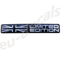 "Limited Edition Union Jack flag Black Chrome badge 3D Decal domed  5.1"" 130mm"