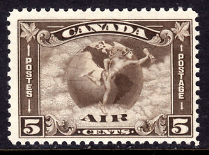 CANADA AIR MAIL #C2 5c OLIVE BROWN, 1930, F, MINT NH