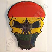 Pegatina Calavera Bandera Ghana Adhesivo Relieve Coche Moto Skull 3D