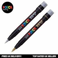 Uni posca PCF-350 Bürste Abgeschnitten Farbe Marker Stift - Silber + Gold (Set