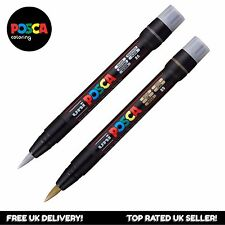 UNI Posca PCF-350 Brush Tipped Paint Marker Pen - Silver + Gold (Set of 2)