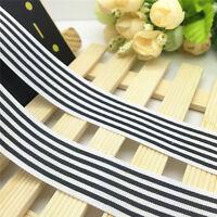 NEW 5 Yards 1'' 25mm Black Fringe line Printed Grosgrain Ribbon Hair Bow Sewing