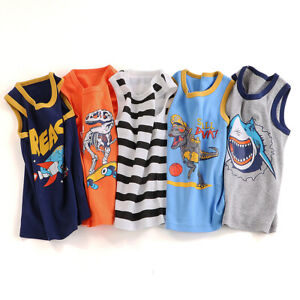 3-Pack Kids Boys' Tank Tops 100% combed Cotton Dinosaur Shirt Toddler Undershirt