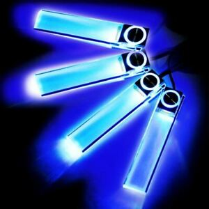 Zone Tech 4x LED Atmosphere Car Charge Blue Glow Interior Decorative Light 12V