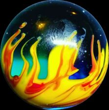 """Red Hot Flames & Cooling Water Handmade Art Glass Mint Marble .87"""" WGA"""