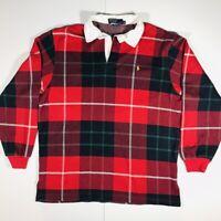 Vtg 80s Polo Ralph Lauren Thick Soft Plaid Red Rugby Long Sleeve Shirt Sz XL USA