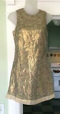 A.B.S Collection by Allen Schwartz Gold Metallic Silk Sheath Mini Dress 0 Lined