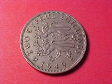New listing Cyprus 2 Shillings 1949 Xf George Vi 1 Year Type