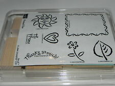 Stampin Up Framed Fun Stamp Set of 7 NEW UM Smiling Sun Flower Heart To From