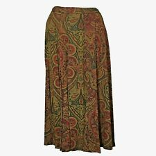 Womens Plus 20W Skirt Fit Flare Long Midi Brown Tan Green Red Chevron Paisley LN
