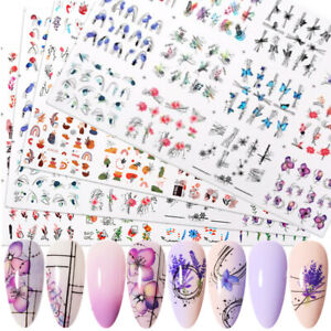 12 Designs Nail Water Stickers Face Geometric Spring Summer Transfer Decals Tips