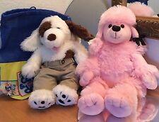 "Lot 2 BABW Build a Bear Dog Plush Stuffed Toy 20"" Pink 18"" White Chocolat Brown"