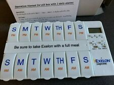 Exelon 1 Week Pill Planner Box Organizer 7 Day AM & PM Large w/ 2 Timer Alarms