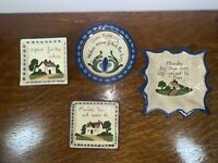 Vintage Torquay Pottery England Motto Ware Collection of Trays Ashtray Lot of 4