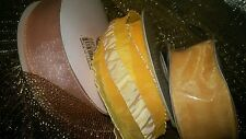 """3 rolls 75yd total of  1.5"""" Coral Yellow and Peach Wired Ribbon Spring Crafts"""