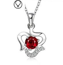 """Garnet Red Cubic Zirconia Heart Silver Pendant Necklace 18"""" Chain Gift Box PS1"""