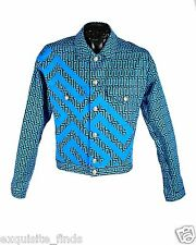 BRAND NEW VERSACE GREEK KEY PRINTED DENIM JACKET WITH SHORTS SUIT 48 - 38