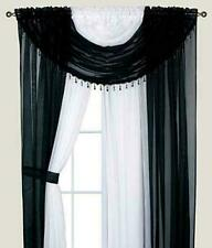 Complete Window Sheer Curtain Panel Set Includes 4 Attached Panels And 2 Valance