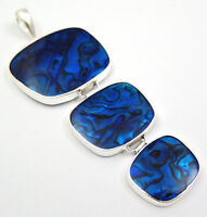 Natural Blue Abalone Shell 925 Sterling Silver pendant Handmade Jewelry SC168