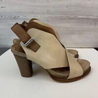 Anthropologie Croqueterra Size 40 Leather Block Heels Ivory LY Croque Terra