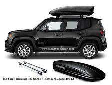 kit Barre portapacchi con BOX TETTO 400 LT. baule nero opaco per Jeep Renegade.