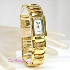 OMAX SEIKO Movt Gold PL White Aurora MOP Dress Watch W/ Swarovski Crystal Jes610