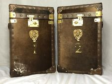 Fine Pair Leather & Faux Cow Fur Luggage Box Chest Bedside Tables Numbered 1 & 2