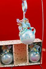 Vintage *BOX of 3* VICTORIAN BLUE FLOWERS PEARLS GLASS BALL CHRISTMAS ORNAMENTS