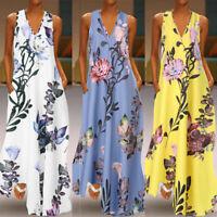 ZANZEA 8-24 Women Summer V Neck Long Maxi Sundress Printed Bohemian Floral Dress