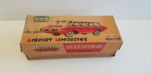 Vintage TIN AIRPORT LIMOUSINE FRICTION TOY CAR RED CHINA MF131 in Box