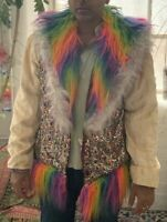 Featival Jacket.Unisex.Light Up Leds Fur. Reversable. Used Once At Burning Man.